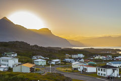 Sunset over the  Djupivogur village - Iceland. Stock Photography