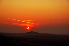 Sunset over Dobrogea hills Royalty Free Stock Image