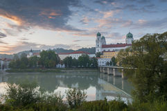 Sunset over the Donau in Passau, Germany Royalty Free Stock Photos