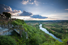 Sunset over the Dordogne valley from Domme Stock Photography