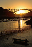 Sunset over Douro River Royalty Free Stock Photos