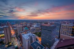 Sunset over downtown Baltimore, Maryland.  stock photos