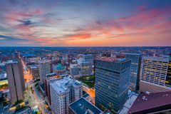 Sunset over downtown Baltimore, Maryland.  royalty free stock photography