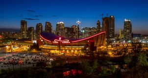 Sunset Over Downtown Calgary and Saddledome Stock Images