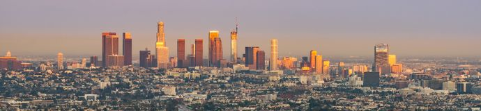 Sunset Over Downtown Los Angeles Royalty Free Stock Photography