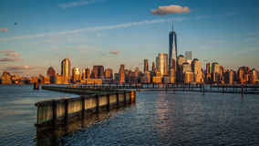 Sunset over Downtown Manhattan stock footage