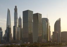 Sunset over downtown Shanghai skyline. Stock Photography