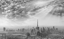 Sunset over Dubai, aerial skyline Royalty Free Stock Images