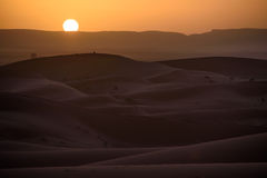 Sunset over the dunes, Morocco, Sahara Desert Stock Image