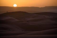 Sunset over the dunes, Morocco, Sahara Desert Stock Image