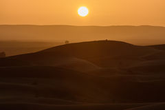 Sunset over the dunes, Morocco, Sahara Desert Stock Photos