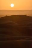 Sunset over the dunes, Morocco, Sahara Desert Stock Photo