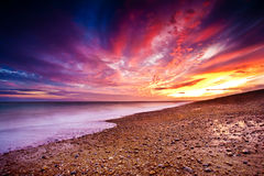 Sunset over Dungeness. Autumn sunset over the beach next to Dungeness power station Royalty Free Stock Photography