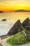 Sunset over Dunquin bay on Dingle Peninsula. Co.Kerry, Ireland Royalty Free Stock Photos