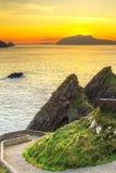 Sunset over Dunquin bay on Dingle Peninsula Royalty Free Stock Photos