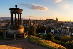 Sunset over Edinburgh and Calton Hill royalty free stock photo