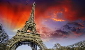Sunset over Eiffel Tower from Champs de Mars Royalty Free Stock Photo
