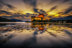 Sunset over Eilean Donan Castle in Scotland Stock Image
