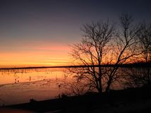 Sunset over El Dorado Lake. Nothing more beautiful then a sunset over a lake Stock Photos