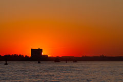 Sunset over the Elbe Stock Photo