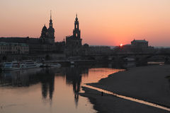 Sunset over the Elbe River in Dresden, Germany. Stock Photos