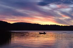 Sunset over Elk lake, Victoria, BC Stock Photo