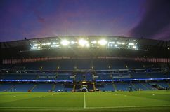 Sunset over Etihad Stadium Royalty Free Stock Images