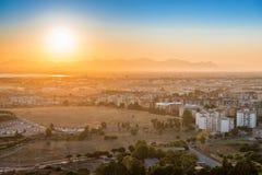 Sunset over europian city Royalty Free Stock Photo
