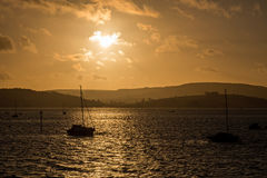 Sunset over Exmouth Marina. The sunsets over Exmouth marina in Devon Stock Photo