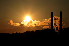 Sunset over a factory. Strip district in Pittsburgh Stock Images