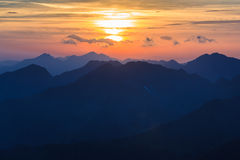 Sunset over the Fagaras Mountains Royalty Free Stock Photo