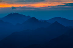 Sunset over the Fagaras Mountains royalty free stock images