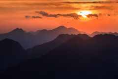 Sunset over the Fagaras Mountains, Southern Carpathians Stock Images
