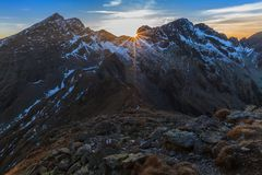 Sunset over the Fagaras Mountains, Southern Carpathians Royalty Free Stock Photography