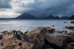 Sunset over Elgol beach, Sile of Skye royalty free stock photo