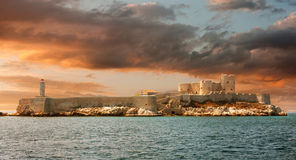 Sunset over famous If castle, chateau d'If, Marseille Royalty Free Stock Photos