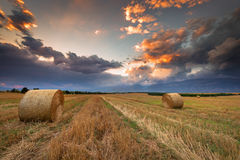 Sunset over farm field. Stock Photos