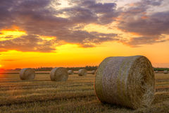 Sunset over farm field with hay bales Stock Photography