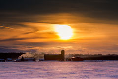 Sunset over Farm Royalty Free Stock Image