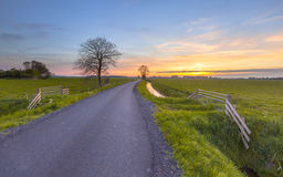 Sunset over farmland Groningen Royalty Free Stock Images