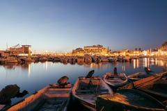 Faro Marina, Algarve, Portugal. Sunset over the Faro Marina, Algarve, Portugal royalty free stock photo