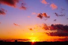 Sunset over the fens Royalty Free Stock Images
