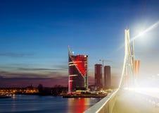 Sunset over the festive Riga. Stock Photo