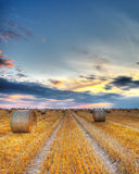 Sunset over the field. Beautiful sunset over a field with bales of hay Royalty Free Stock Photography
