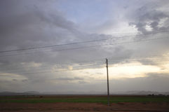 SUNSET OVER A FIELD IN IRAN Stock Images