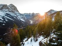 Sunset over Field in Yoho National Park from Pagets Peaks. A tough but worthy hike Stock Images