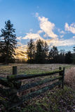 Sunset over Fields and Forests Royalty Free Stock Photography
