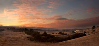 Sunset over Fields and Highway. A California scenic at sunset: Arastradero Preserve and I-280 Stock Images
