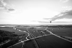 Sunset over the fields. Hot air balloon ride over sweden in summer Royalty Free Stock Photos
