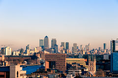Sunset Over Financial District Cityscape of London. Including Canary Wharf Stock Photos